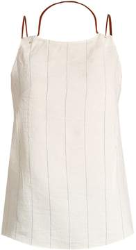 Esteban Cortazar Draped-neck striped top