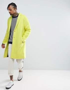 Asos Drop Shoulder Overcoat In Yellow Texture
