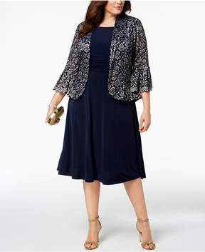 Jessica Howard Plus Size Ruched Dress & Lace Jacket