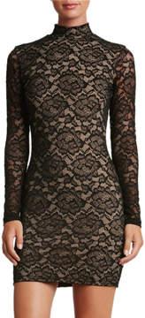 Dress the Population Penelope Mock-Neck Lace Mini Cocktail Dress