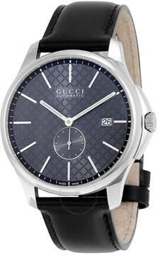 Gucci G-Timeless Automatic Grey Dial Black Leather Men's Watch