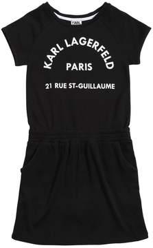 Karl Lagerfeld Logo Print Cotton Interlock Dress