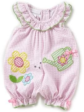 Bonnie Jean Bonnie Baby Baby Girls Newborn-24 Months Flutter-Sleeve Gingham-Checked Romper
