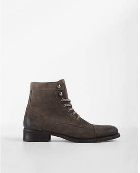 Express gray suede lace-up boot