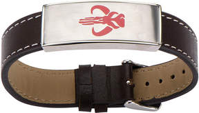 Star Wars FINE JEWELRY Mens Stainless Steel and Leather Mandalorian Symbol ID Bracelet