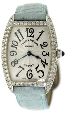 Franck Muller Curvex 1752 QZ D 18K White Gold & Leather wDiamond Quartz 25mm Womens Watch