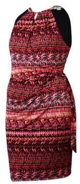 Jessica Simpson Women's Belted Halter Jersey Dress (14, Print)