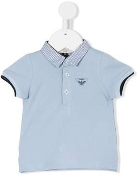 Emporio Armani Kids checked collar polo shirt