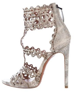 Alaia Embossed Laser Cut Sandals