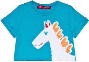 Agatha Ruiz De La Prada Blue Horse Face Print T-Shirt