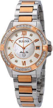 Bulova Marine Star Diamond White Mother of Pearl Dial Ladies Watch