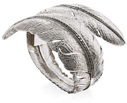 Michael Aram Feather Bypass Hinged Bangle with Diamonds