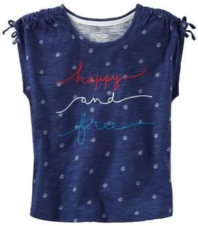 Osh Kosh Girls 4-8 Happy and Free Embroidered Graphic Tee