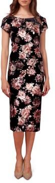 ECI Women's Floral Print Velvet Midi Dress