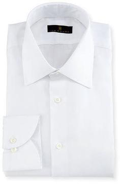 Ike Behar Gold Label Micro-Herringbone Dress Shirt, White