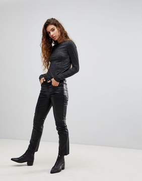 Cheap Monday Leather Look Slim Fit Cropped PANTS