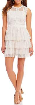 Chelsea & Violet Embroidered Trim Tiered Lace Dress