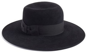 Eric Javits Women's Velour Padre Fur Felt Wide Brim Hat - Black