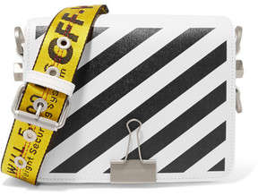 Off-White - Striped Textured-leather Shoulder Bag