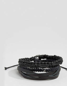 ICON BRAND Leather & Woven Bracelet Pack In Black