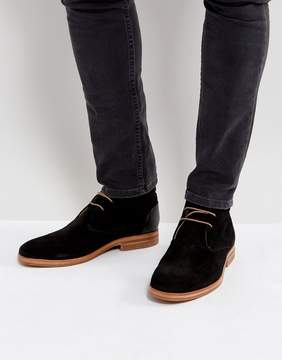 H By Hudson Matteo Suede Desert Boots In Black