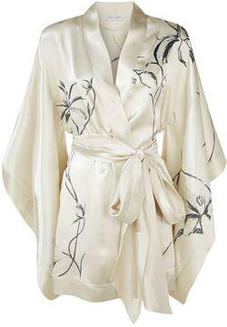 Carine Gilson Floral Print Short Silk Kimono
