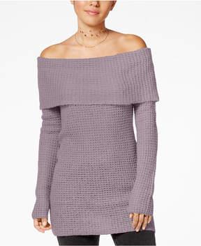 Ultra Flirt Juniors' Off-The-Shoulder Tunic Sweater