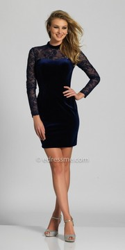 Dave and Johnny Velvet High Collar Embellished Fitted Homecoming Dress