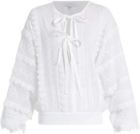Andrew Gn Lace-trimmed tie-neck cotton blouse