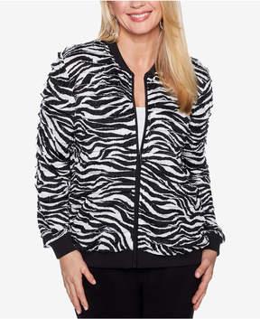 Alfred Dunner Upper East Side Zebra-Print Bomber Jacket