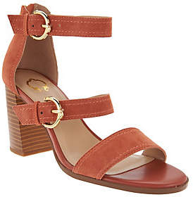 C. Wonder As Is Block Heel Suede Sandals with Buckles - Maya