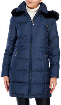 Ellen Tracy Hooded Down Coat with Real Fur Trim