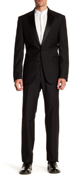 Kenneth Cole Reaction Solid Two Button Notch Lapel Wool Suit