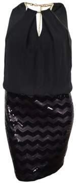 GUESS LA Women's Halter Chiffon Sequin Dress (14, Black)