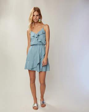 Express Denim Ruffle Front Dress
