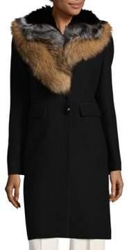 1 Madison Dyed Fox Fur-Trim Coat