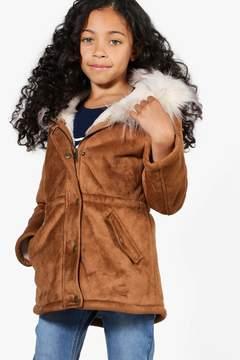 boohoo Girls Faux Fur Trim Bonded Suedette Parka