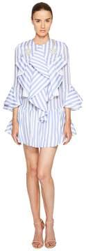 Francesco Scognamiglio Long Sleeve Striped Ruffle Front Dress Women's Dress