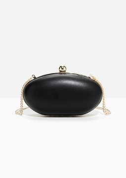 Gold-Tone Clasp Leather Clutch