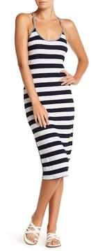 C&C California Lima Striped Cutout Midi Dress