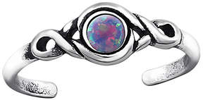Celtic Purple Opal & Silver-Plated Scroll Adjustable Toe Ring