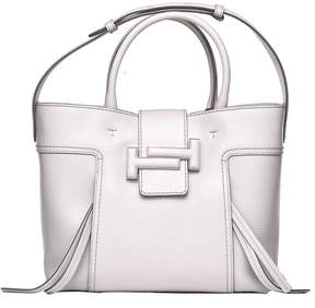 Tod's Double T Shopping Bag In Grey Leather