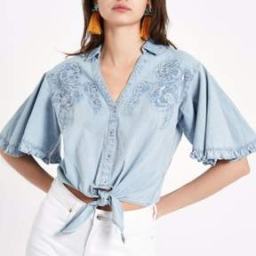 River Island Womens Blue denim floral embroidered tie front shirt