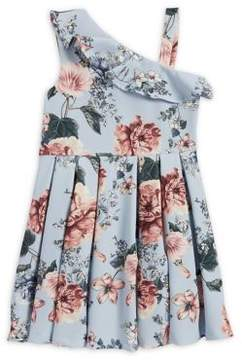 Bardot Girl's Floral Asymmetrical Ruffle Dress