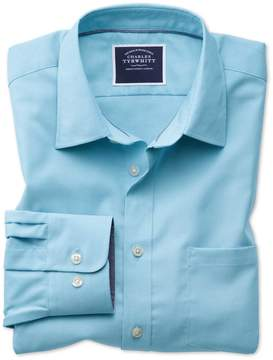 Charles Tyrwhitt Classic Fit Non-Iron Oxford Turquoise Plain Cotton Casual Shirt Single Cuff Size Medium