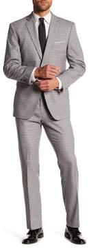 Perry Ellis Grey Check Plaid Two Button Notch Lapel Slim Fit Suit