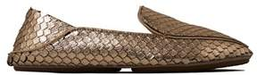 Yosi Samra Womens Vivian Silvered Leather Loafer.