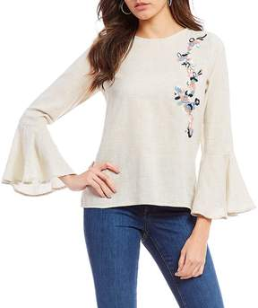 Chelsea & Theodore Bracelet Bell Sleeve Embroidered Detail Blouse