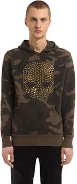 Hydrogen Skull Studded Camo Cotton Sweatshirt