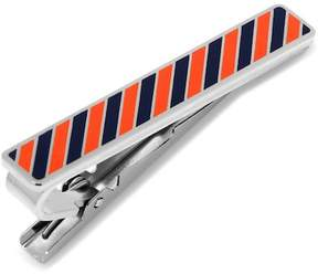 Cufflinks Inc. Varsity Stripes Navy and Orange Tie Clip